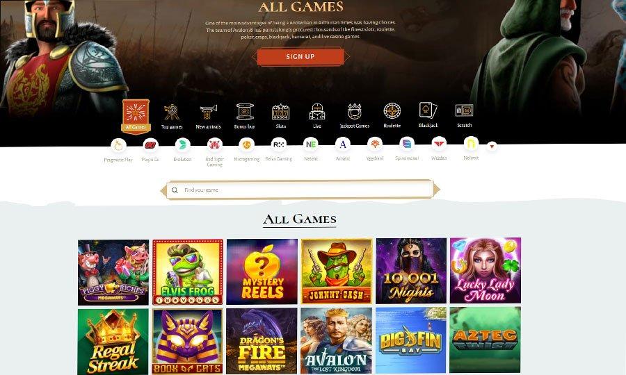 Avalon78 Casino Lobby